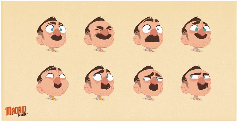 manolo expression sheet concept by james castillo for madrid noir